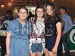 Holly Keogh, Olive Maguire and Clare O'Brien at the Oberstown Farm barn dance. Photo:Colin Bell/pressphotos.ie