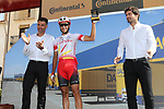 Jose Herrada (ESP) Cofidis gets his combativity prize at sign on before Stage 6 of La Vuelta 2019 running 198.9km from Mora de Rubielos to Ares del Maestrat, Spain. 29th August 2019.<br /> Picture: Luis Angel Gomez/Photogomezsport | Cyclefile<br /> <br /> All photos usage must carry mandatory copyright credit (© Cyclefile | Luis Angel Gomez/Photogomezsport)