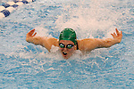 19 February 2016: Notre Dame's Catherine Galletti competes in the 100 Butterfly preliminary heat 3. The 2016 Atlantic Coast Conference Swimming and Diving Championships were held at the Greensboro Aquatic Center in Greensboro, North Carolina from February 17-27, 2016.