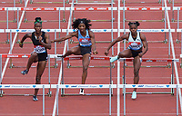 Kendra Harrison (United States) competing in the women's 100m hurdles with Janeek Brown (Jamaica) and Megan Tapper (Jamaica) during the IAAF Diamond League Athletics Müller Grand Prix Birmingham at Alexander Stadium, Walsall Road, Birmingham on 18 August 2019. Photo by Alan  Stanford.