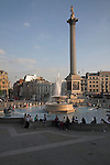 Nelson's column and fountain, Trafalgar Square, London, England Fountain,