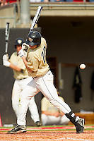 Jack Carey #20 of the Wake Forest Demon Deacons gets hit by a pitch against the North Carolina State Wolfpack at Doak Field at Dail Park on March 17, 2012 in Raleigh, North Carolina.  The Wolfpack defeated the Demon Deacons 6-2.  (Brian Westerholt/Four Seam Images)