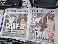 Front pages and headlines of the New York Daily News and Post on Tuesday, May 13, 2014 feature coverage of leaked security camera footage of altercation between rapper Jay Z and Solange Knowles, his sister-in-law.  (© Richard B. Levine)