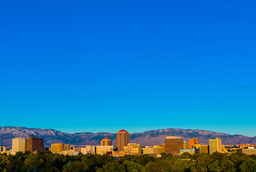 Skyline of downtown Albuquerque, New Mexico USA