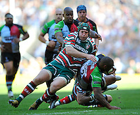 Aviva Premiership Final .Twickenham, England. Thomas Waldrom of Leicester Tigers tackles  Jordan Turner-Hall of Harlequins during the AVIVA Premiership Final between Harlequins and Leicester Tigers at Twickenham Stadium on May 26, 2012 in London, United Kingdom.