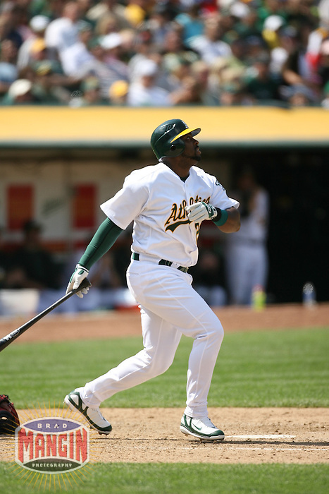 OAKLAND, CA - May 12:  Milton Bradley of the Oakland Athletics bats during the game against the Cleveland Indians at the McAfee Coliseum in Oakland, California on May 12, 2007.  The Indians defeated the Athletics 6-3.  Photo by Brad Mangin