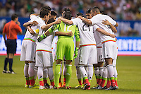 Members of Mexico's National soccer team in the huddle before the start of an international friendly at the Alamodome, Wednesday, April 15, 2015 in San Antonio, Tex. (Mo Khursheed/TFV Media via AP Images)