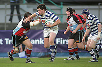Dungannon number 8 Stuart Lamb on the charge against Harlequins during the First Trust Senior Cup Final at Ravenhill. Result - Dungannon 27pts Harlequins 10pts.