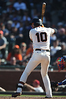 SAN FRANCISCO, CA - APRIL 29:  Evan Longoria #10 of the San Francisco Giants bats against the Los Angeles Dodgers during the game at AT&T Park on Sunday, April 29, 2018 in San Francisco, California. (Photo by Brad Mangin)