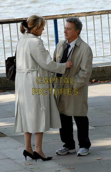 "EMMA THOMPSON & DUSTIN HOFFMAN .On the set of ""Last Chance Harvey"" refilming scenes near The Royal Festival Hall, Embankment, London, England..May 21st, 2008.film movie full length beige trench coat mac .CAP/IA.©Ian Allis/Capital Pictures."