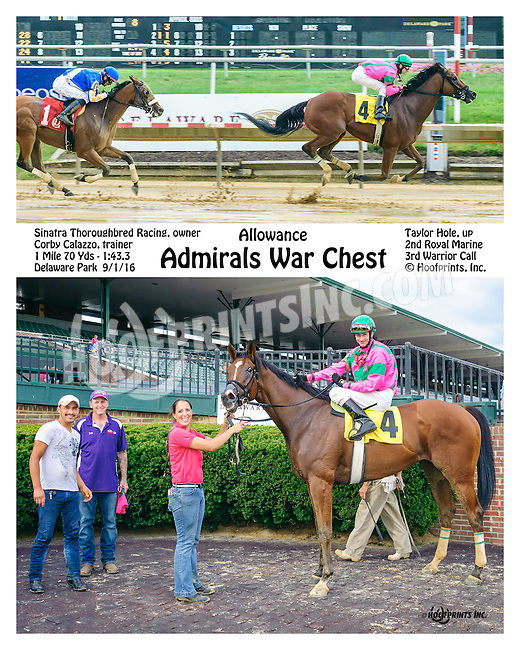 Admirals War Chest winning at Delaware Park on 9/1/16