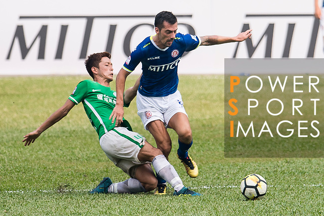 Yuto Nakamura of Wofoo Tai Po (L) fights for the ball with Marko Krasic of Rangers (R) during the week three Premier League match between BC Rangers and Wofoo Tai Po at Sham Shui Po Sports Ground on September 17, 2017 in Hong Kong, China. Photo by Marcio Rodrigo Machado / Power Sport Images