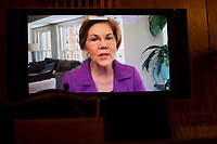 """United States Senator Elizabeth Warren (Democrat of Massachusetts), speaking though teleconference during the US Senate Health, Education, Labor, and Pensions Committee hearing titled """"COVID-19: Going Back to School Safely"""" on Capitol Hill in Washington, DC on Thursday, June 4, 2020.<br /> Credit: Ting Shen / CNP/AdMedia"""