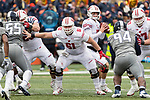 Wisconsin Badgers offensive linemen Tyler Biadasz (61) blocks during an NCAA College Big Ten Conference football game against the Illinois Fighting Illini Saturday, October 28, 2017, in Champaign, Illinois. The Badgers won 24-10. (Photo by David Stluka)