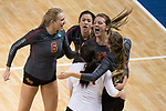 GRAND RAPIDS, MI - NOVEMBER 18: Claremont-Mudd-Scripps players celebrate after winning a point during the Division III Women's Volleyball Championship held at Van Noord Arena on November 18, 2017 in Grand Rapids, Michigan. Claremont-M-S defeated Wittenberg 3-0 to win the National Championship. (Photo by Doug Stroud/NCAA Photos via Getty Images)