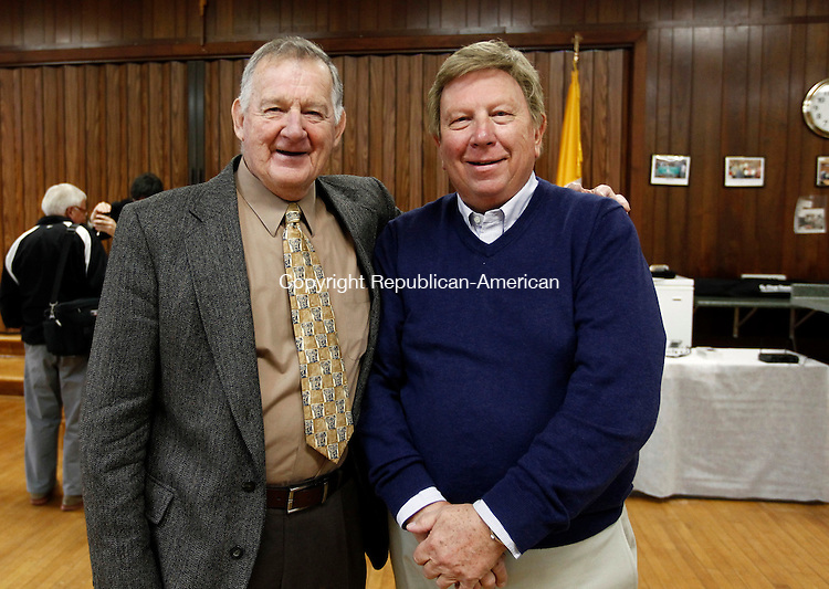 Waterbury, CT- 09 November 2014-110914CM09-  Social moments-- From left to right, Ken Dubauskas of Oakville and Dick Yuskas of Stewart, FL, photographed during the St. Joseph Parish 120th anniversary celebration in Waterbury on Sunday.   Christopher Massa Republican-American