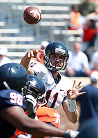 Virginia quarterback Greyson Lambert (11) throws the ball during the annual Virginia football Orange-Blue Spring Game Saturday at Scott Stadium in Charlottesville, VA. Photo/The Daily Progress/Andrew Shurtleff