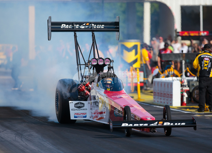 May 3, 2019; Commerce, GA, USA; NHRA top fuel driver Clay Millican during qualifying for the Southern Nationals at Atlanta Dragway. Mandatory Credit: Mark J. Rebilas-USA TODAY Sports