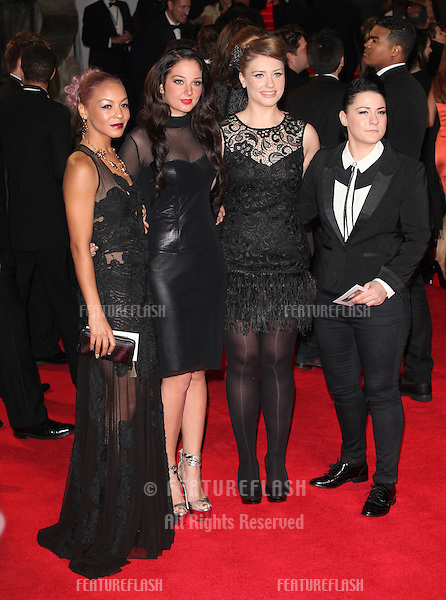 Tulisa with Jade Ellis, Ella Henderson and Lucy Spraggan from X Factor arriving for the Royal World Premiere of 'Skyfall' at Royal Albert Hall, London. 23/10/2012 Picture by: Alexandra Glen / Featureflash