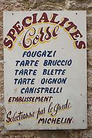 France/2A/Corse du Sud/Bonifacio: Enseigne de la Boulangerie Faby  et ses spécialitées corses