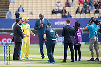 Ian Bishop with captains Aaron Finch and Eoin Morgan at the toss during Australia vs England, ICC World Cup Semi-Final Cricket at Edgbaston Stadium on 11th July 2019