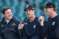 Charlotte Knights pitcher Charlie Leesman (center) is interviewed by pitcher Scott Carroll (right) and radio analyst Mike Pacheco (left) prior to the game against the Gwinnett Braves  at BB&T Ballpark on April 16, 2014 in Charlotte, North Carolina.  (Brian Westerholt/Four Seam Images)