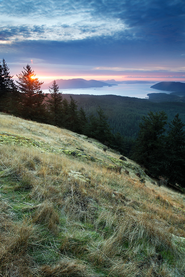 Sun rising over meadow on Mount Constitution in Moran State Park on Orcas Island with view of Samish Bay and Rosario Strait, San Juan Islands, San Juan County, Washington State, USA