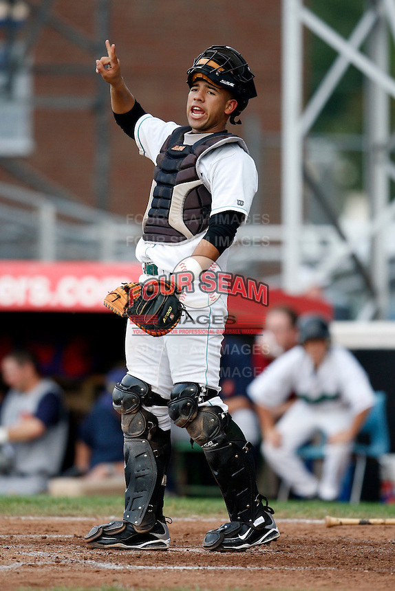 July 30, 2009:  Catcher Jose Ceballos of the Jamestown Jammers during a game at Russell Diethrick Park in Jamestown, NY.  The Jammers are the NY-Penn League Short-Season Single-A affiliate of the Florida Marlins.  Photo By Mike Janes/Four Seam Images