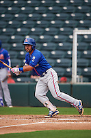 St. Lucie Mets shortstop Luis Guillorme (9) at bat during a game against the Fort Myers Miracle on August 9, 2016 at Hammond Stadium in Fort Myers, Florida.  St. Lucie defeated Fort Myers 1-0.  (Mike Janes/Four Seam Images)