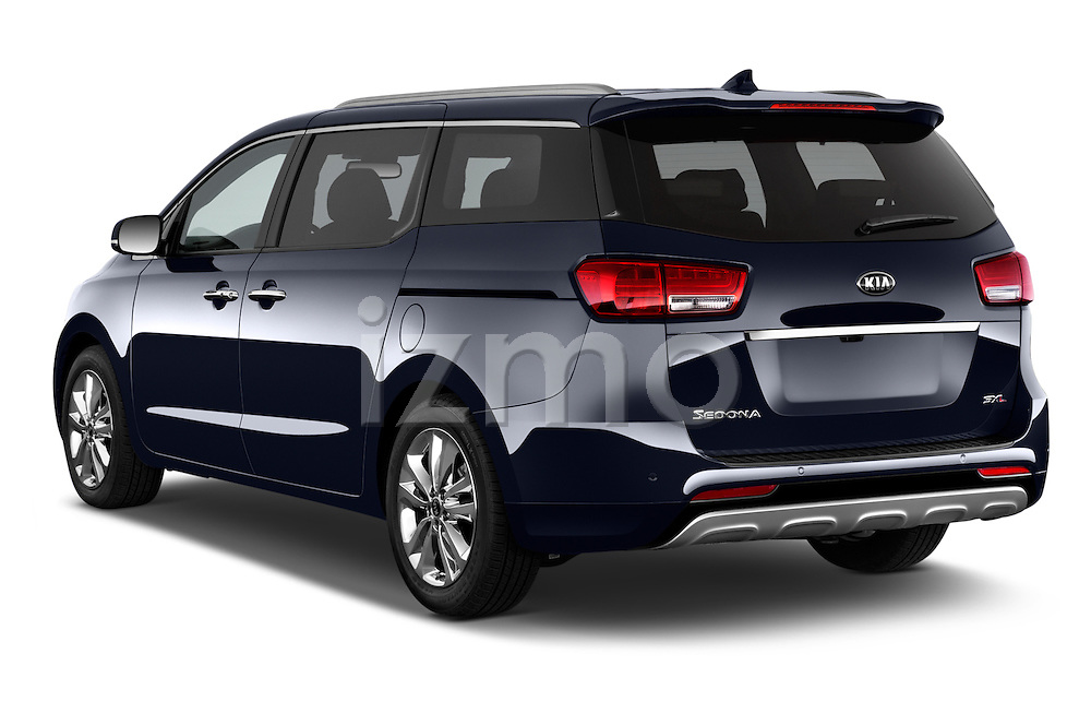 Car pictures of rear three quarter view of a 2015 KIA Sedona LX Hybrid 5 Door Mini Van angular rear