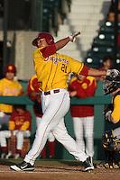 Jake Hernandez #21 of the USC Trojans bats against the California Bears at Dedeaux Field on April 5, 2012 in Los Angeles,California. California defeated USC 5-4.(Larry Goren/Four Seam Images)