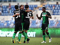 Football, Serie A: S.S. Lazio - Sassuolo, Olympic stadium, Rome, July 11, 2020. <br /> Sassuolo's players celebrate after winning 2-1 the Italian Serie A football match between S.S. Lazio and Sassuolo at Rome's Olympic stadium, Rome, on July 11, 2020. <br /> UPDATE IMAGES PRESS/Isabella Bonotto