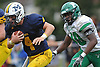 Anthony Buckshaw #40 of Massapequa races downfield during a Nassau County Conference I varsity football game against Farmingdale at Massapequa High School on Saturday, Oct. 8, 2016. Farmingdale won by a score of 45-42.
