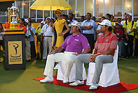 Lee Westwood (ENG) and Amateur Gavin Green (MAS) await being introduced as winners at the 2014 Maybank Malaysian Open at the Kuala Lumpur Golf & Country Club, Kuala Lumpur, Malaysia. Picture:  David Lloyd / www.golffile.ie