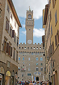 View of the Palazzo Vecchio and the Piazza della Signoria from the Via Vacchereccia in Florence, Italy on Tuesday, October 22, 2013. <br /> Credit: Ron Sachs / CNP