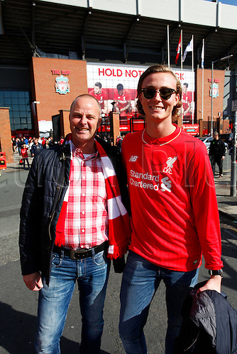 26.09.2015. Liverpool, England. Barclays Premier League. Liverpool versus Aston Villa.  Visting Swedish fans before today's game.