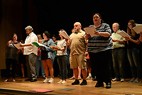 "NWA Democrat-Gazette/ANDY SHUPE<br /> Local journalists rehearse a scene Wednesday, Sept. 18, 2019, for ""Gridiron"" in Giffels Auditorium in Old Main on the University of Arkansas campus in Fayetteville."