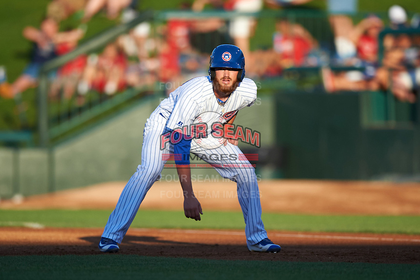 South Bend Cubs third baseman Matt Rose (17) leads off first base during a game against the Burlington Bees on July 22, 2016 at Four Winds Field in South Bend, Indiana.  South Bend defeated Burlington 4-3.  (Mike Janes/Four Seam Images)