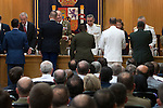 King Juan Carlos I of Spain (c), Admiral Fernando García Sánchez, Chief of Defense Staff (JEMAD) (r) and the Defence Minister Pedro Morenés (l) during the close of the XIII year of staff of the Armed Forces at the Center for Advanced Studies of National Defense (CESEDEN).(Alterphotos/Ricky)
