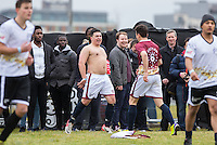 MERGIM BUTAJA (THE APPRENTICE 2015) rips off his shirt to celebrate a goal during the SOCCER SIX Celebrity Football Event at the Queen Elizabeth Olympic Park, London, England on 26 March 2016. Photo by Andy Rowland.