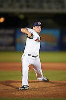 Fort Myers Miracle relief pitcher Luke Westphal (15) delivers a pitch during a game against the Brevard County Manatees on April 13, 2016 at Hammond Stadium in Fort Myers, Florida.  Fort Myers defeated Brevard County 3-0.  (Mike Janes/Four Seam Images)