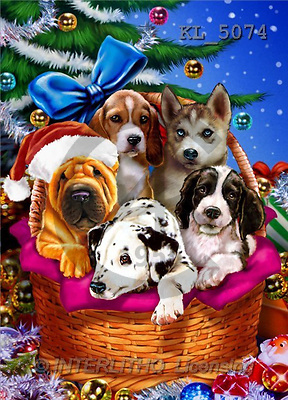 Interlitho, Lorenzo, CHRISTMAS ANIMALS, paintings, 5 dogs, basket, tree(KL5074,#XA#) Weihnachten, Navidad, illustrations, pinturas