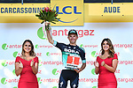 Rakal Majka (POL) Bora-Hansgrohe wins the days combativity award at the end of Stage 15 of the 2018 Tour de France running 181.5km from Millau to Carcassonne, France. 22nd July 2018. <br /> Picture: ASO/Alex Broadway | Cyclefile<br /> All photos usage must carry mandatory copyright credit (&copy; Cyclefile | ASO/Alex Broadway)