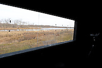 Sandhill cranes blinds at the Aldo Leopold Foundation on the Wisconsin River, near Baraboo, Wisconsin on Saturday, November 26, 2016