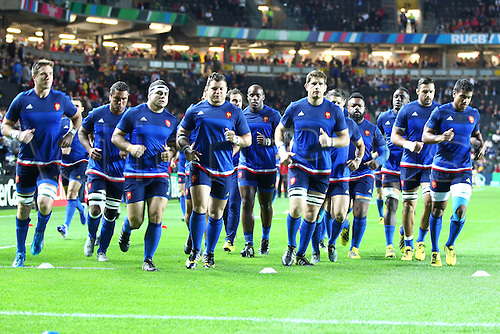 01.10.2015. Milton Keynes, England. Rugby World Cup. France versus Canada.  The French Team commence their warm-up by having a captains run on the pitch