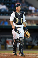 Lakeland Flying Tigers catcher Drew Longley (20) during a game against the Tampa Yankees on April 5, 2014 at Joker Marchant Stadium in Lakeland, Florida.  Lakeland defeated Tampa 3-0.  (Mike Janes/Four Seam Images)