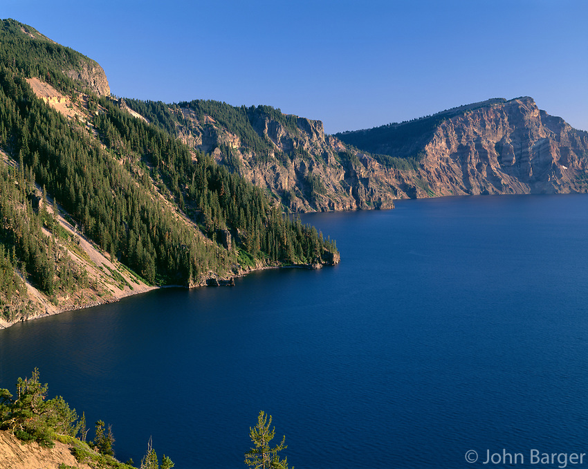 ORCL_039 - USA, Oregon, Crater Lake National Park, Evening view from north rim of Crater Lake south towards Sentinel Rock (center) and Dutton Cliff (right).
