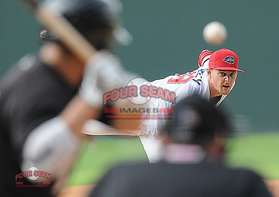 Photo of the Savannah Sand Gnats in a game against the Greenville Drive on Saturday, July 6, 2013, at Fluor Field at the West End in Greenville, South Carolina. Savannah won, 3-0. (Tom Priddy/Four Seam Images)