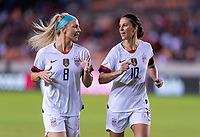 HOUSTON, TX - FEBRUARY 03: Julie Ertz #8 and Carli Lloyd #10 of the United States talk during a game between Costa Rica and USWNT at BBVA Stadium on February 03, 2020 in Houston, Texas.