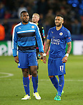 Leicester's Wes Morgan and Danny Simpson look on dejected at the final whistle during the Champions League Quarter-Final 2nd leg match at the King Power Stadium, Leicester. Picture date: April 18th, 2017. Pic credit should read: David Klein/Sportimage